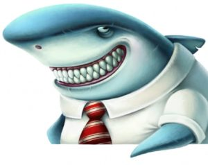Shark in a shirt and tie